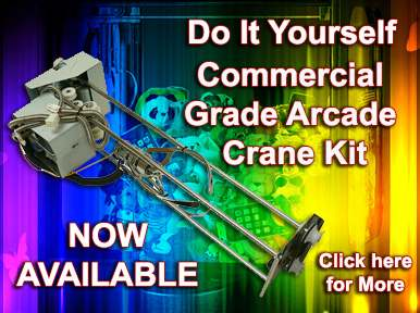 Build your own crane machine with our Taiwan made commercial grade arcade crane kit, includes crane assembly, game board, speakers, cables and components.