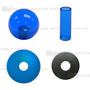 Sanwa Shaft Cover, Dustwasher and Ball Top JLF-CD-CB + LB-35-CB (Clear Blue)