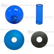 Sanwa Shaft Cover, Dustwasher and Ball Top JLF-CD-CB + LB-35-CB (Clear Blue)